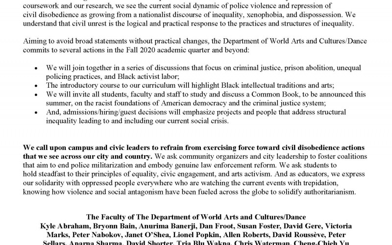 Solidarity Statement from WACD Faculty